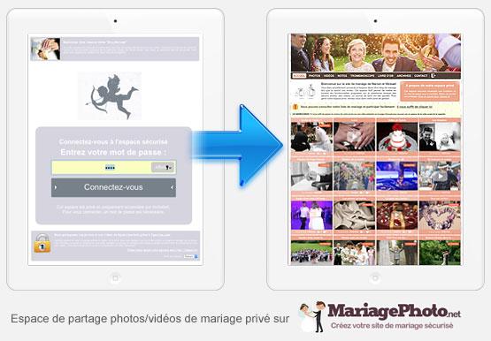 Votre espace mariage est seulement accessible à vos invités qui doivent se connecter à l'aide d'un mot de passe