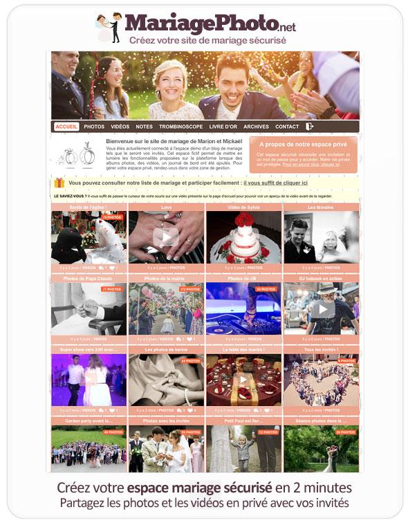 Espace photos de mariage en ligne avec accès sécurisé pour les invités